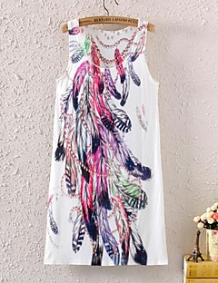 kvinnors ärmlös fjäder grafiskt tryck klänning