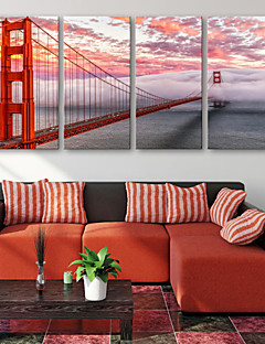 e-home® allungata tela arte ponte rosso decorazione pittura insieme di 4