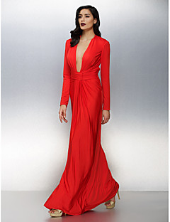 TS Couture® Formal Evening Dress Plus Size / Petite Sheath / Column V-neck Floor-length Jersey with Ruching
