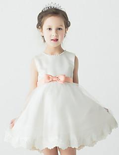Galajurk Korte broek / Mini Bloemenmeisje jurk - Satijn/Tule Mouwloos