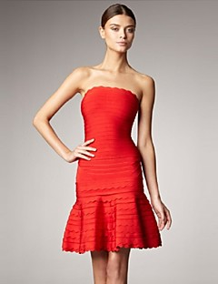 Cocktail Evening Party Dress Sheath/Column Strapless Knee Length A Line Spandex/Nylon/Rayon Celeb Bandage Dress