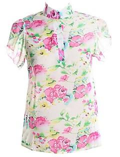 여성의 플로럴 스탠드 짧은 소매 블라우스,심플 캐쥬얼/데일리 블루 / 핑크 / 그린 여름 얇음