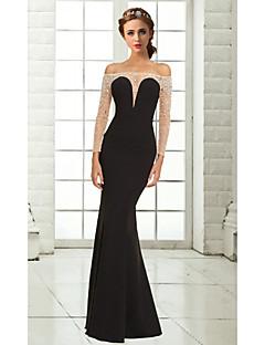 Fiesta formal Vestido - Negro Corte Sirena Hasta el Suelo - Hombros Caídos Gasa