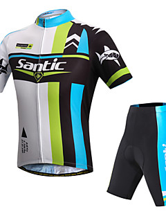SANTIC® Cycling Jersey with Shorts Men's Short Sleeve Bike Breathable / Ultraviolet Resistant / Reflective StripsJersey + Shorts / Padded
