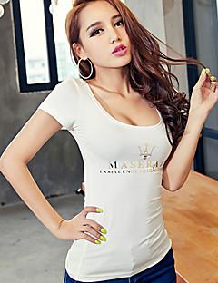 Kortärmad T-shirt Kvinnors Rund hals Bomull