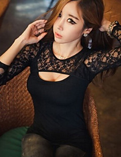 Women's Going out Plus Size Sexy Summer T-shirt,Solid Round Neck Long Sleeve Black Others Thin