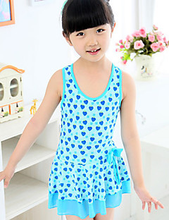 Girl's Swimwear,Polyester Summer Blue / Pink