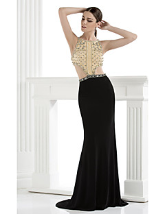 Formal Evening Dress Trumpet / Mermaid Spaghetti Straps Floor-length Spandex with Beading / Crystal Detailing