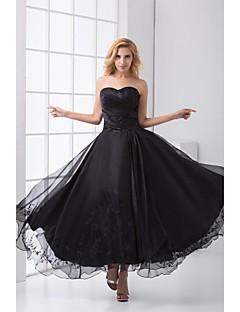 저녁 정장파티 드레스 - 블랙 A라인 발목 길이 스위트하트 사틴/명주그물