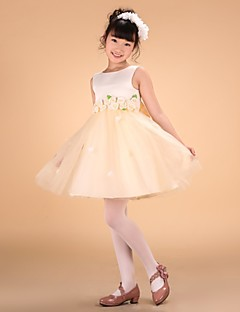 Princess Knee-length Flower Girl Dress - Satin Tulle Bateau with Bow(s) Flower(s) Sash / Ribbon Pleats