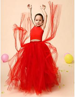 Flower Girl Dress Floor-length Satin/Tulle Ball Gown Sleeveless Dress