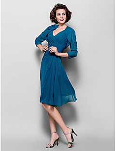A-line Plus Sizes Mother of the Bride Dress - Ink Blue Knee-length 3/4 Length Sleeve Chiffon