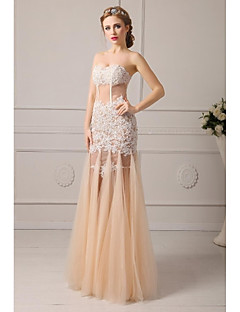 Homecoming Formal Evening Dress A-line Sweetheart Floor-length Tulle Prom Dresses