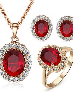Korusetti Kristalli jäljitelmä Diamond Kristalli Cubic Zirkonia jäljitelmä Diamond Metalliseos Birthstones Punainen KorusettiHäät Party