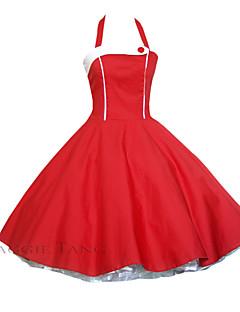 maggie tang vrouwen rood / zwart halster 50s vintage pinup huisvrouw rockabilly swing jurk