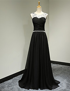 Formal Evening Dress - Black Plus Sizes / Petite A-line Scoop Sweep/Brush Train Chiffon