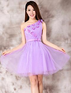 Robe - Violet Mode de bal Épaule asymétrique Longueur mi cuisse Dentelle