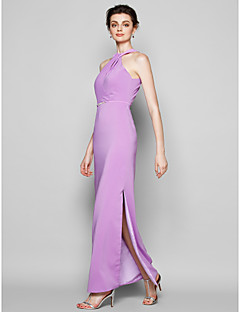 Lanting Bride® Ankle-length Satin Chiffon Bridesmaid Dress Sheath / Column Halter Plus Size / Petite with Crystal Detailing
