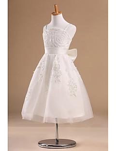 Flower Girl Dress Tea-length Satin/Tulle Princess Sleeveless Dress