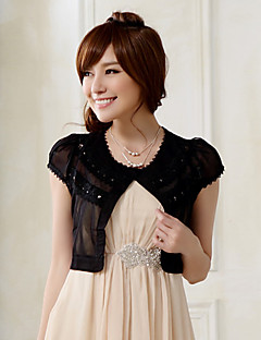 Wedding Wraps Short Sleeve Chiffon/Polyester Fashion Sweet Boleros Black/White Bolero Shrug