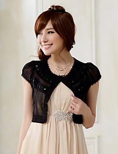 mariage enveloppe manches courtes en mousseline de soie / mode de polyester boléros douces noir / blanc bolero haussement