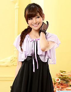 Wedding Wraps Short Sleeve Chiffon/Polyester Loose Falbala Boleros Black/White/Purple Bolero Shrug