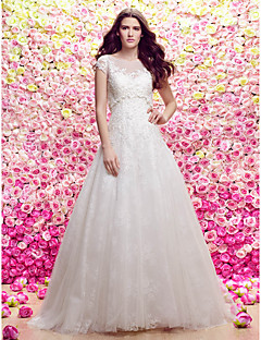 Lanting Bride Lanting A-line/Princess Wedding Dress - Ivory Sweep/Brush Train Scoop Lace / Tulle