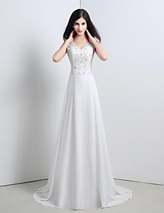 웨딩 드레스-A-라인 / 공주 스윕/브러쉬 트레인 스트랩 쉬폰