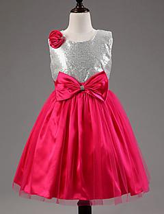 A-line Tea-length Flower Girl Dress - Cotton/Tulle/Sequined/Polyester Sleeveless