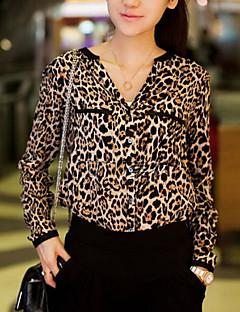 Women's Casual/Daily Simple Summer Shirt,Leopard / Animal Print Shirt Collar Long Sleeve White / Black Thin