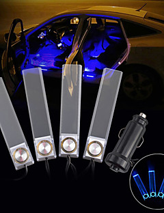 ZY-615 Decorative 4-LED Blue Light Car Cigarette Powered Light - Transparent(DC 12V / 240cm)