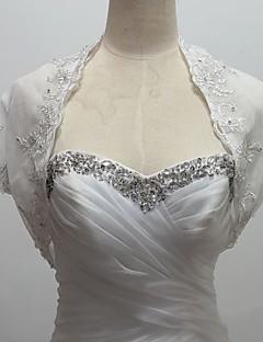 결혼식 볼레로 짧은 소매 얇은 명주 그물 / 반짝이 흰색 볼레로 어깨를 으쓱 랩