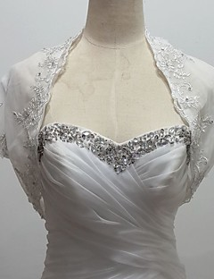 bryllup wraps boleroer kort ærme tyl / sequined hvid bolero skuldertræk