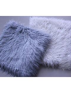 helt ny lång fuskpäls stolsdyna / dyna (silver vit)