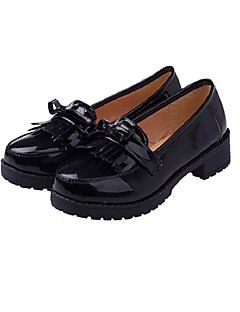 Lovely Lolita Student Performance Black & Wine Red PU Leather Cosplay Shoes