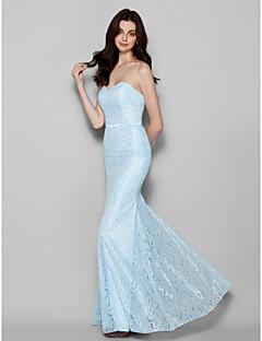 hjemkomst gulvlang blonder brudepige kjole - Lyse Blå trompet / havfrue kæreste