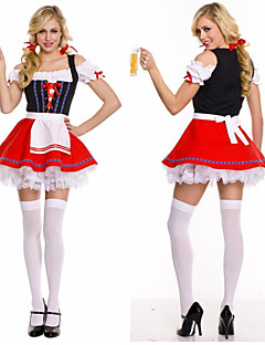 Hot Beer Waitress Wrap Chest Dress Satin Maid Uniform
