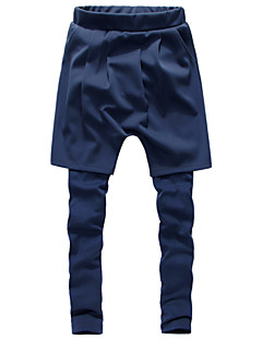 Men's Solid Casual / Sport Sweatpants,Cotton / Polyester Black / Blue