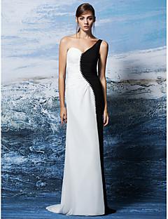 구슬 공식적인 저녁 드레스 플러스 사이즈 / 아담 칼집 / 열 어깨 하나 층 길이 조젯 couture® TS