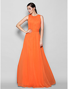 Lanting Bride® Floor-length Chiffon Bridesmaid Dress A-line Jewel Plus Size / Petite with Criss Cross