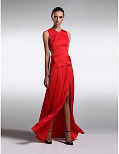 Formal Evening Dress - Ruby Plus Sizes / Petite Sheath/Column Jewel Floor-length Satin