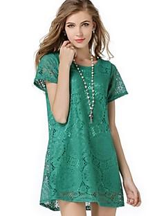 Women's Lace Hook Flower Solid Short Sleeve A Line Dress
