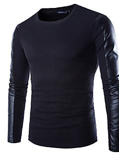 Menn Fritid / Arbeid / Formelt / Sport Ensfarget T-skjorte,Bomullsblanding Langermet-Svart
