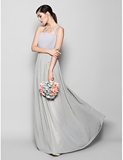 Lanting Bride® Floor-length Chiffon Bridesmaid Dress Sheath / Column Scoop Plus Size / Petite with Draping