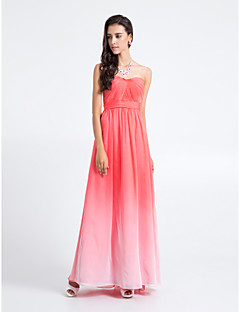 Lanting Bride® Floor-length Chiffon Bridesmaid Dress - Color Gradient Sheath / Column Strapless Plus Size / Petite with Criss Cross
