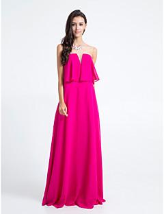 동창회 바닥 길이 쉬폰 들러리 드레스 - 자홍색 칼집 / 칼럼 끈