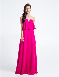 lanting 바닥 길이 쉬폰 들러리 드레스 - 자홍색 플러스 크기 / 아담 칼집 / 칼럼 끈