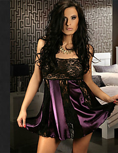 Women Lace Lingerie / Robes / Satin & Silk / Ultra Sexy Nightwear Solid Cotton Blends / Lace / SatinWhite / Pink / Purple / Blue / Yellow