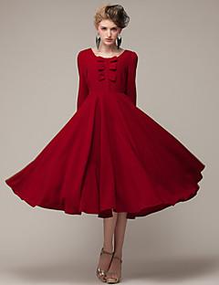 Robe Aux femmes Moulante / Swing Vintage / Soirée / Décontracté / Mignon , Couleur Pleine Col Arrondi / Noeud Maxi Soie / Lin