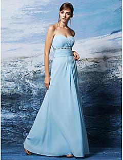 Robe - Bleu Ciel Soirée formelle Fourreau Sans bretelles/Col en cœur Longueur ras du sol Crêpe